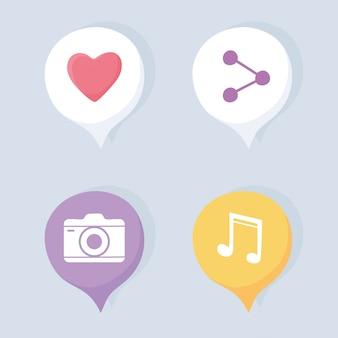 共有カメラや音楽通信システムなどのソーシャルネットワークとテクノロジーのアイコンを設定