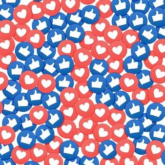 Социальный сетевой маркетинг нравится и значок сердца. применение фоновой рекламы в социальных сетях.