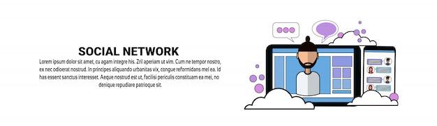 Social network media communicaton concept horizontal banner template