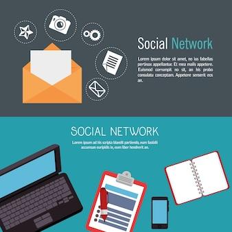Social network media d icon