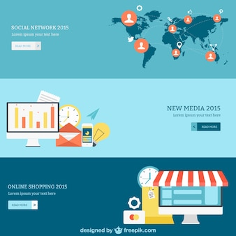 Social network, media and online shopping banners Free Vector