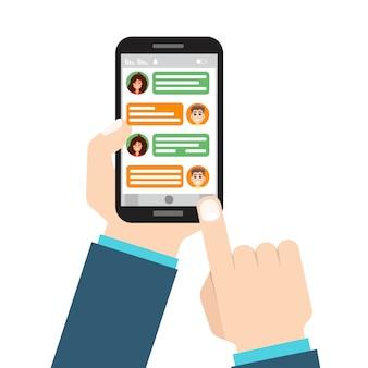 Социальная сеть. обмен сообщениями, общение. рука держа смартфон. иллюстрации.