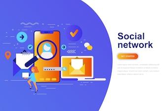 ソーシャルネットワークモダンフラットコンセプトウェブバナー