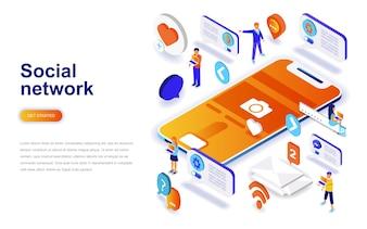 ソーシャルネットワークの近代的なフラットデザインアイソメアの概念。