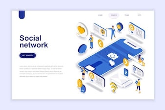 Social network modern flat design isometric concept.