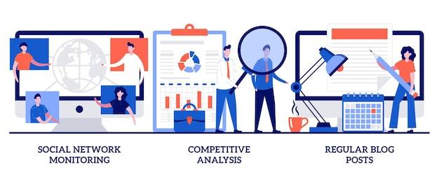 Мониторинг социальных сетей, конкурентный анализ, концепция регулярных публикаций в блогах с крошечными людьми. маркетинг и pr абстрактные векторные иллюстрации набор. репутация бренда, метафора начинающего бизнес-консультанта.