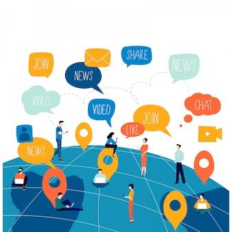 ソーシャルネットワーク、ネットワーキング、人々とつながった概念