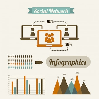 Социальная сеть на белом фоне векторная иллюстрация