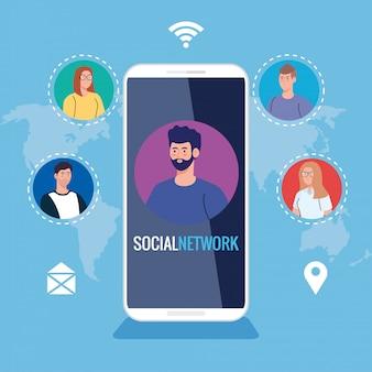 Социальная сеть, люди, подключенные к смартфону, интерактивность, общение и глобальная концепция