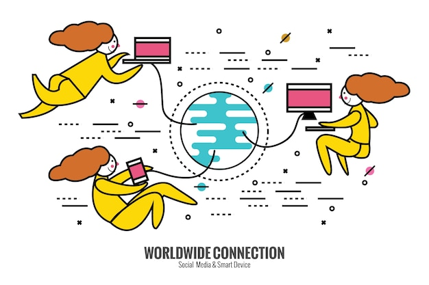 Social network. people world wide connect with smart device. flat thin line design elements. vector illustration