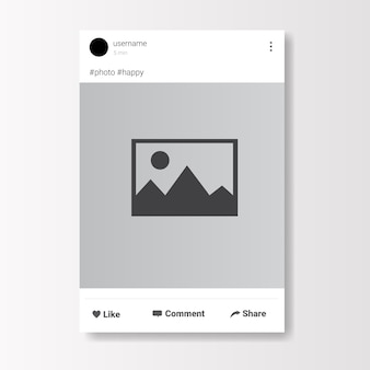 Social network photo frame on white background