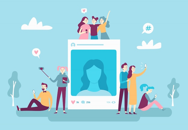 Social network photo post. youngsters people posting selfie phot