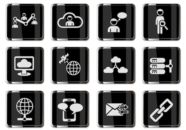 Social network pictograms in black chrome buttons. icon set for user interface design