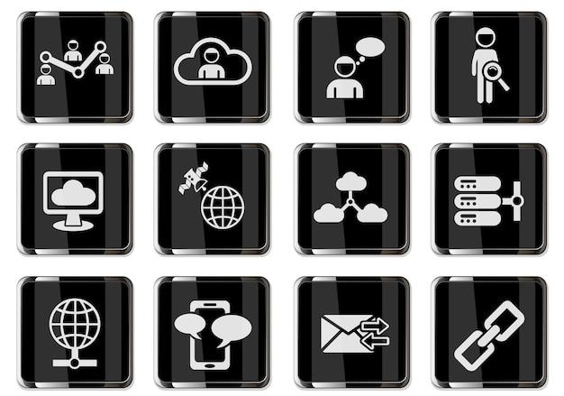 Пиктограммы социальных сетей в черные хромированные кнопки. набор иконок для дизайна пользовательского интерфейса