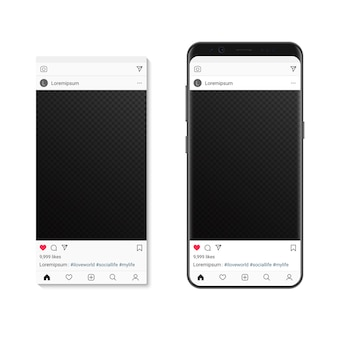Пост с изображением социальной сети на экране смартфона. композитор фоторамки в социальных сетях