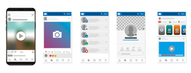 Social network  , post frames and other pages illustration.