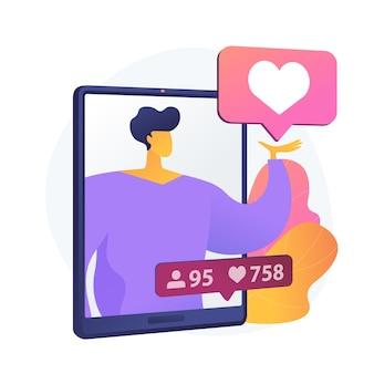 Profilo di social network. famoso blogger, personaggio di colore dei cartoni animati influencer. mi piace e ripubblicazioni alle foto. popolarità di internet, fama, celebrità. illustrazione della metafora del concetto isolato di vettore