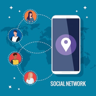 Social network, smartphone and people connected for digital, interactive, communication and global concept