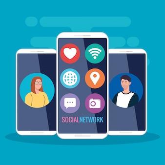 Социальная сеть, смартфоны с молодыми людьми на экране и значки социальных сетей