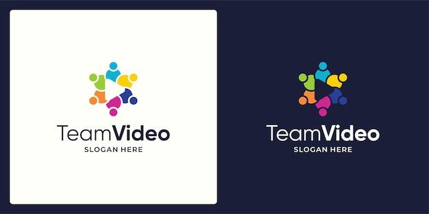 Social network team logo design vector and video play button logo.