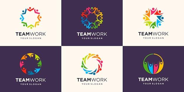 Social network team partners family friends logo design.
