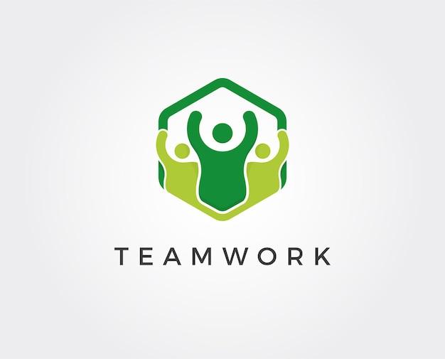 ソーシャルネットワークチームパートナーのロゴテンプレート