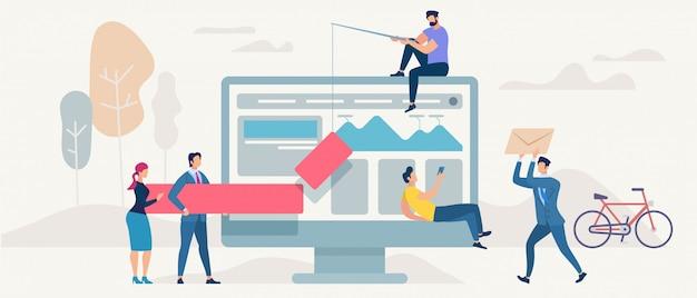 Social network and teamwork vector concept.