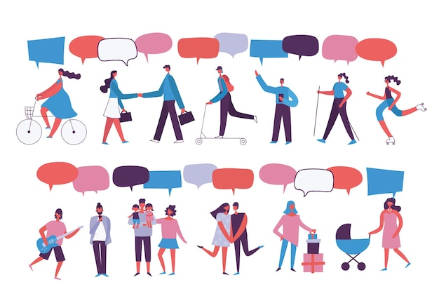 Social network template group of young people characters chatting and speaking virtual communication...