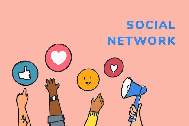 Вектор шаблона социальной сети с реакциями