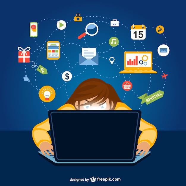 Social network user cartoon