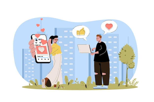 Social network web concept man and woman users in social networks communicate online