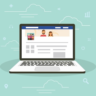 Концепция серфинга веб-сайта социальной сети иллюстрация молодых людей, использующих мобильный ноутбук гаджеты, чтобы быть частью онлайн-сообщества.