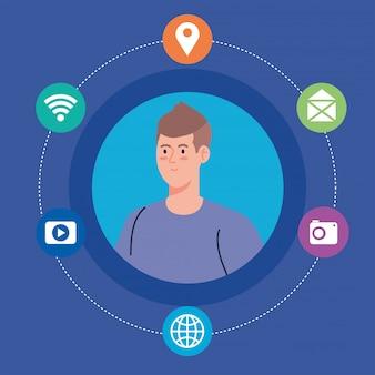 Социальная сеть, молодой человек и значки социальных сетей, концепция глобальной коммуникации
