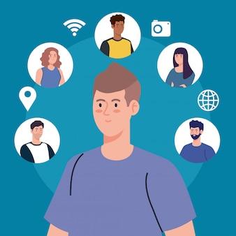 소셜 네트워크, 디지털로 연결된 젊은 사람들, 의사 소통 및 글로벌 개념