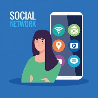 Социальная сеть, молодая женщина со смартфоном и иконками социальных сетей