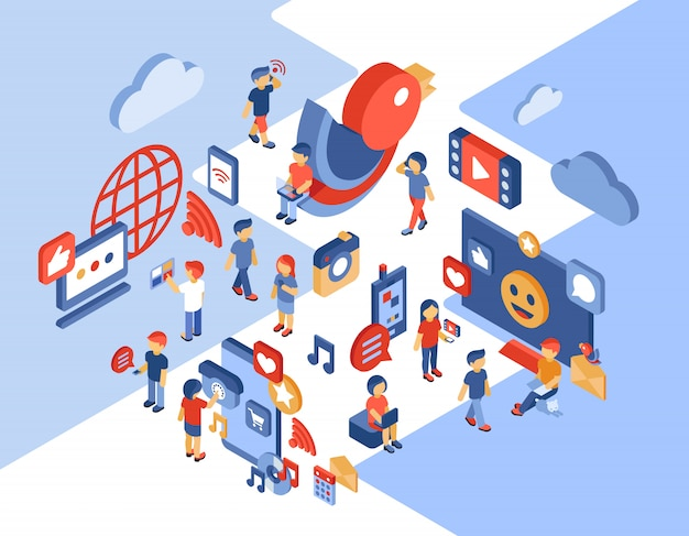 Social networking and communication isometric illustration