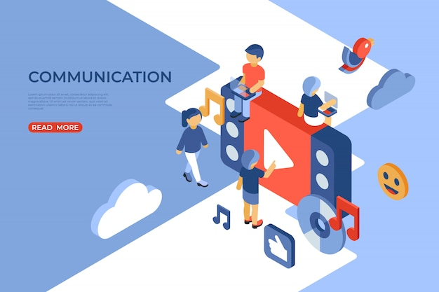 Social networking and communication isometric landing page