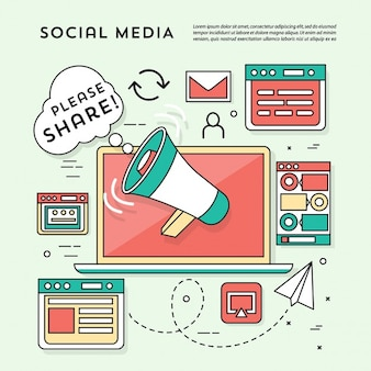 Social networking elements on a green background