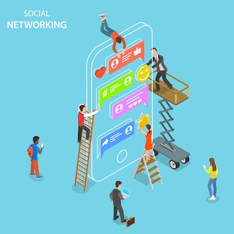 Social networking flat isometric vector concept.