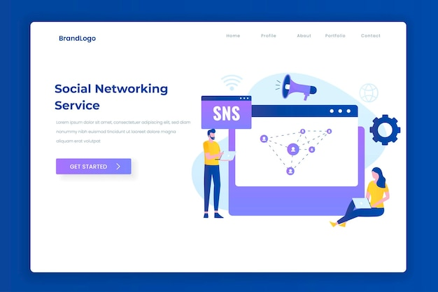 Концепция целевой страницы иллюстрации службы социальных сетей. иллюстрация для веб-сайтов, целевых страниц, мобильных приложений, плакатов и баннеров.