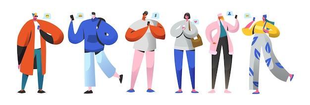 Концепция виртуальных отношений социальных сетей. плоские люди персонажей в чате через интернет с помощью смартфона. группа мужчин и женщин с мобильными телефонами. векторная иллюстрация