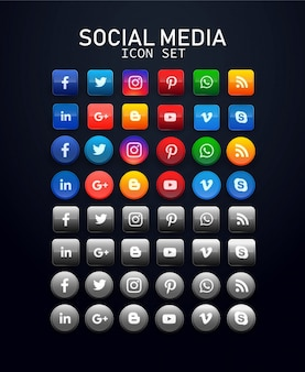 Social networks colorful collection icons