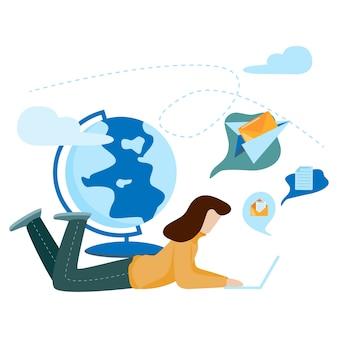 소셜 네트워크 통신 개념. 대화, 채팅, 커뮤니케이션. 소셜 미디어 개념.