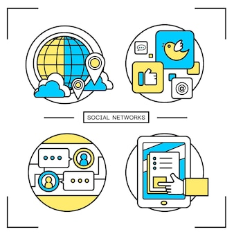 Social networks graphic set in line style