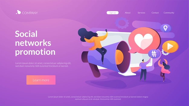 Social networks promotion landing page template