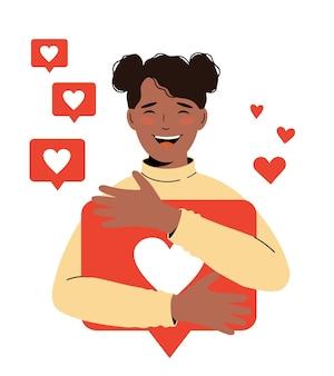 소셜 네트워크, 프로모션, smm 개념입니다. 아프리카계 미국인 귀여운 블로거 소녀가 많은 좋아요를 받았습니다.