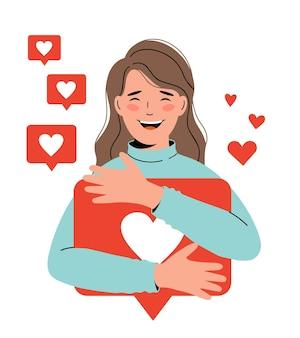 소셜 네트워크, 프로모션, smm 개념. 젊은 행복한 소녀 블로거는 좋아요에 만족합니다.
