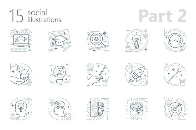Social outline illustrations