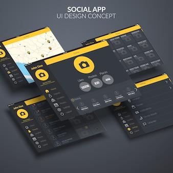 Concetto di design dell'interfaccia utente dell'applicazione della pagina sociale
