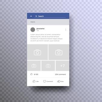Концепция интерфейса социальной страницы на мобильном телефоне.